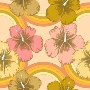 retro rainbow hibiscus on nude
