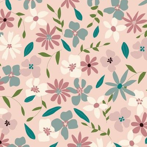 70's Layered Floral on Dusty Pink