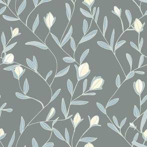 Victorian blossom grey blue