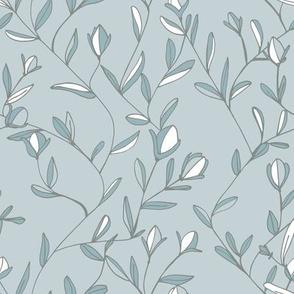 Victorian blossom blue grey
