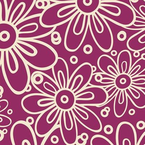 Doodle flowers on a purple background