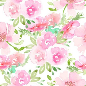 Watercolor Roses and Peonies