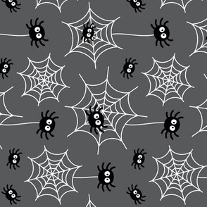 spiders and webs on dark grey » halloween rotated