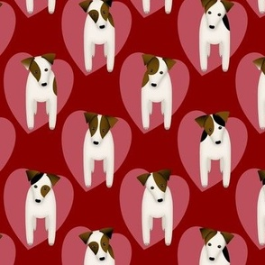 Love my dog Parson / Jack Russell Terriers with large pink hearts / Red