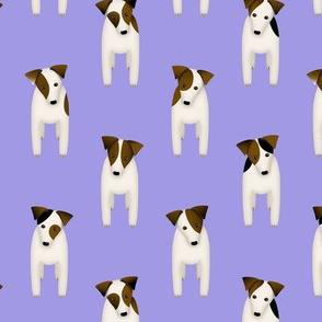 Parson / Jack Russell Terriers dogs tilting head standing at attention / chicory purple