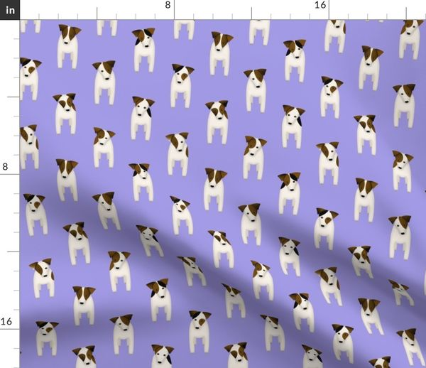 Fabric by the Yard Parson / Jack Russell Terriers dogs tilting head  standing at attention / chicory purple