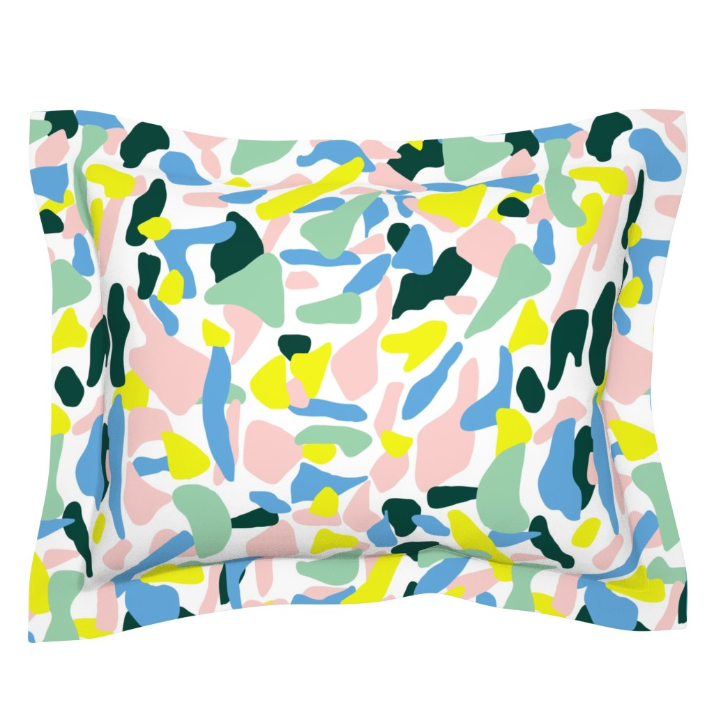 Sebright Pillow Sham featuring Postmodern Painting in Nile Pastel by yesterdaycollection
