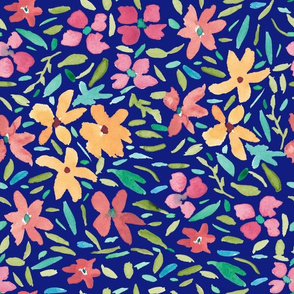 Loose Painted Florals on Navy