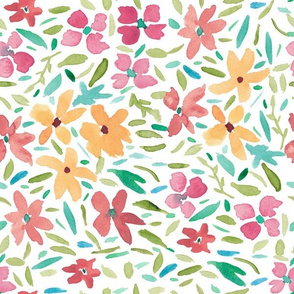 Loose Painted Abstract Florals on White