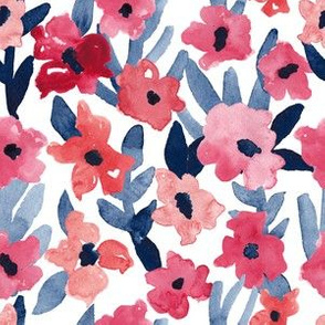 Navy and Coral Painted Floral