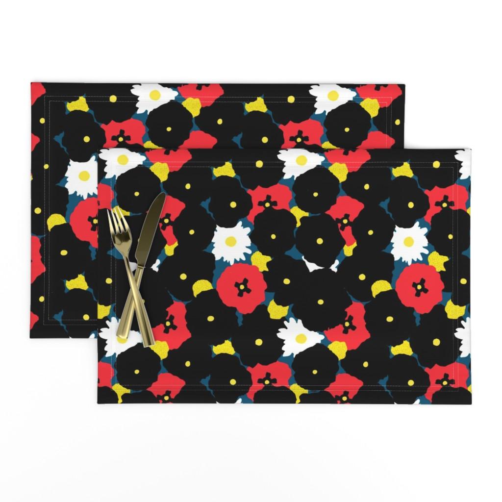 Lamona Cloth Placemats featuring Minimalist Autumn Floral by elliottdesignfactory