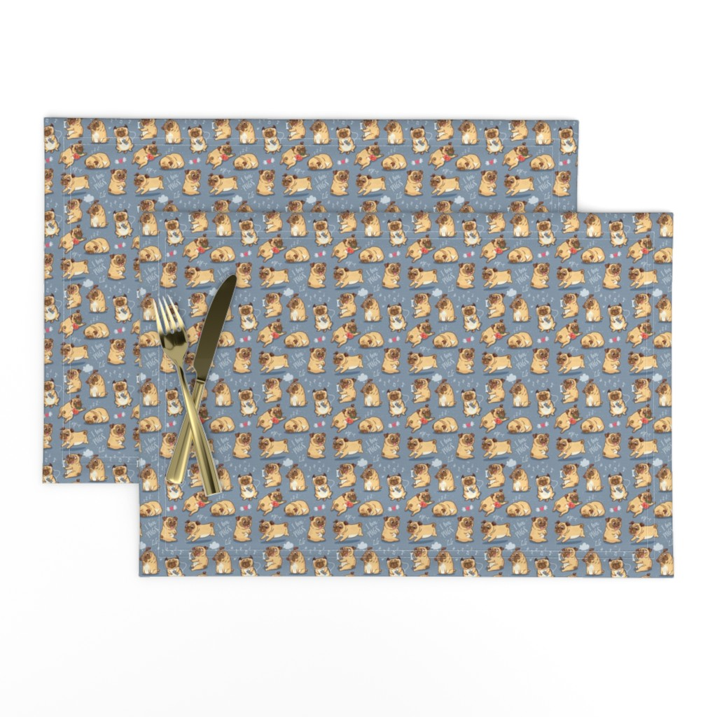 Lamona Cloth Placemats featuring Cutest pugs by penguinhouse