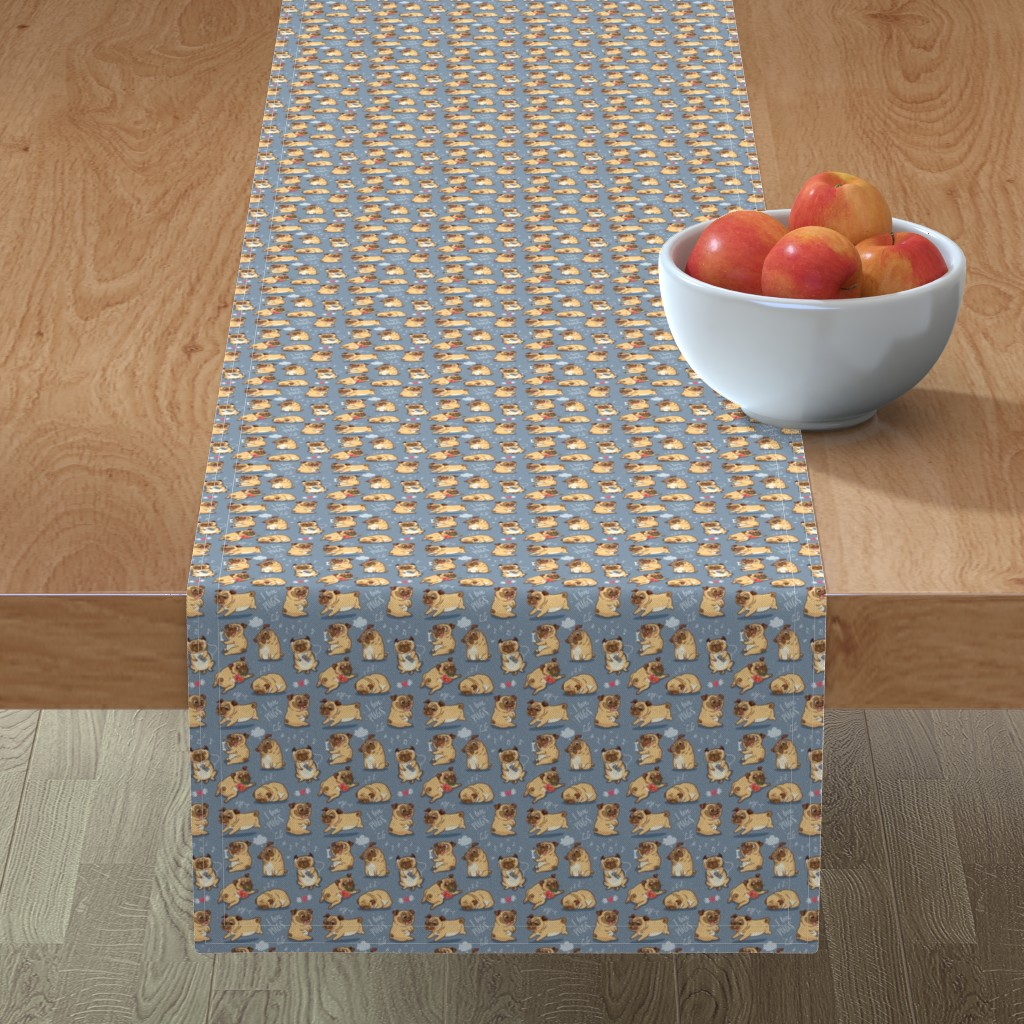 Minorca Table Runner featuring Cutest pugs by penguinhouse