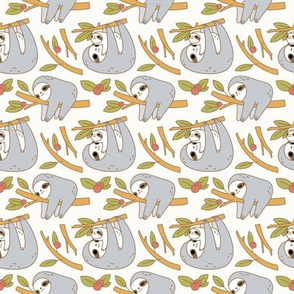 Sloth Pattern in Ivory small