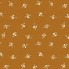 Bee Ditsy White on Rust Linen