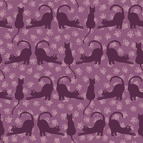 Purple and Pink Cute Stretching Cats Vector