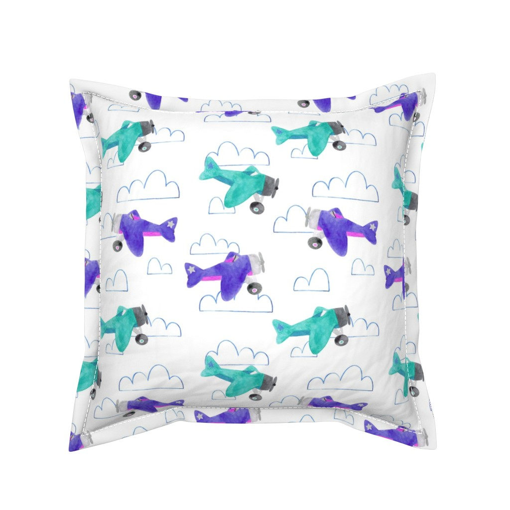 Serama Throw Pillow featuring Toy Planes and Clouds by arthousewife