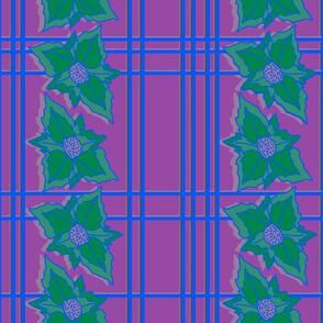 Tropical poinsettias green purple checks
