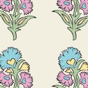 Indian Flower Stamp / Pastel Blue, Yellow, Pink, Green