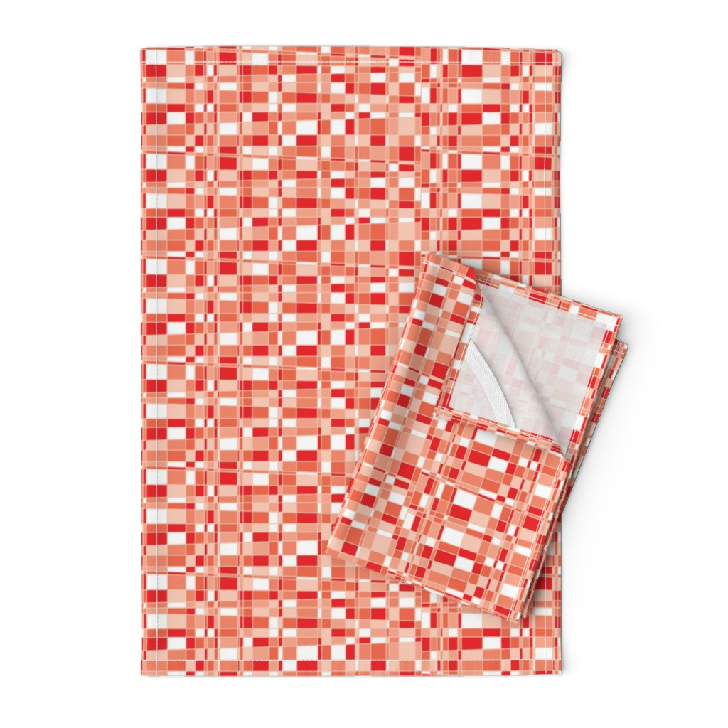 Orpington Tea Towels featuring Mod Gingham - Red by autumn_musick