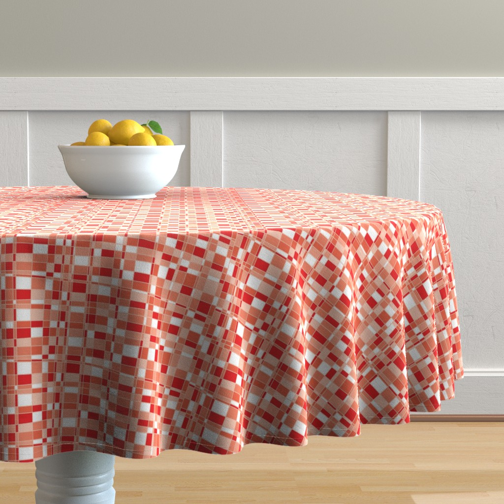 Malay Round Tablecloth featuring Mod Gingham - Red by autumn_musick