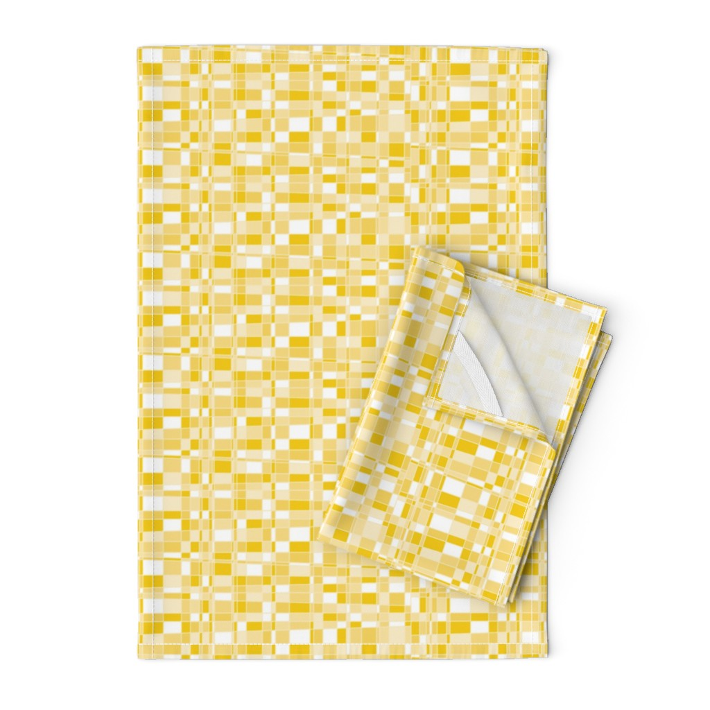 Orpington Tea Towels featuring Mod Gingham - Yellow by autumn_musick