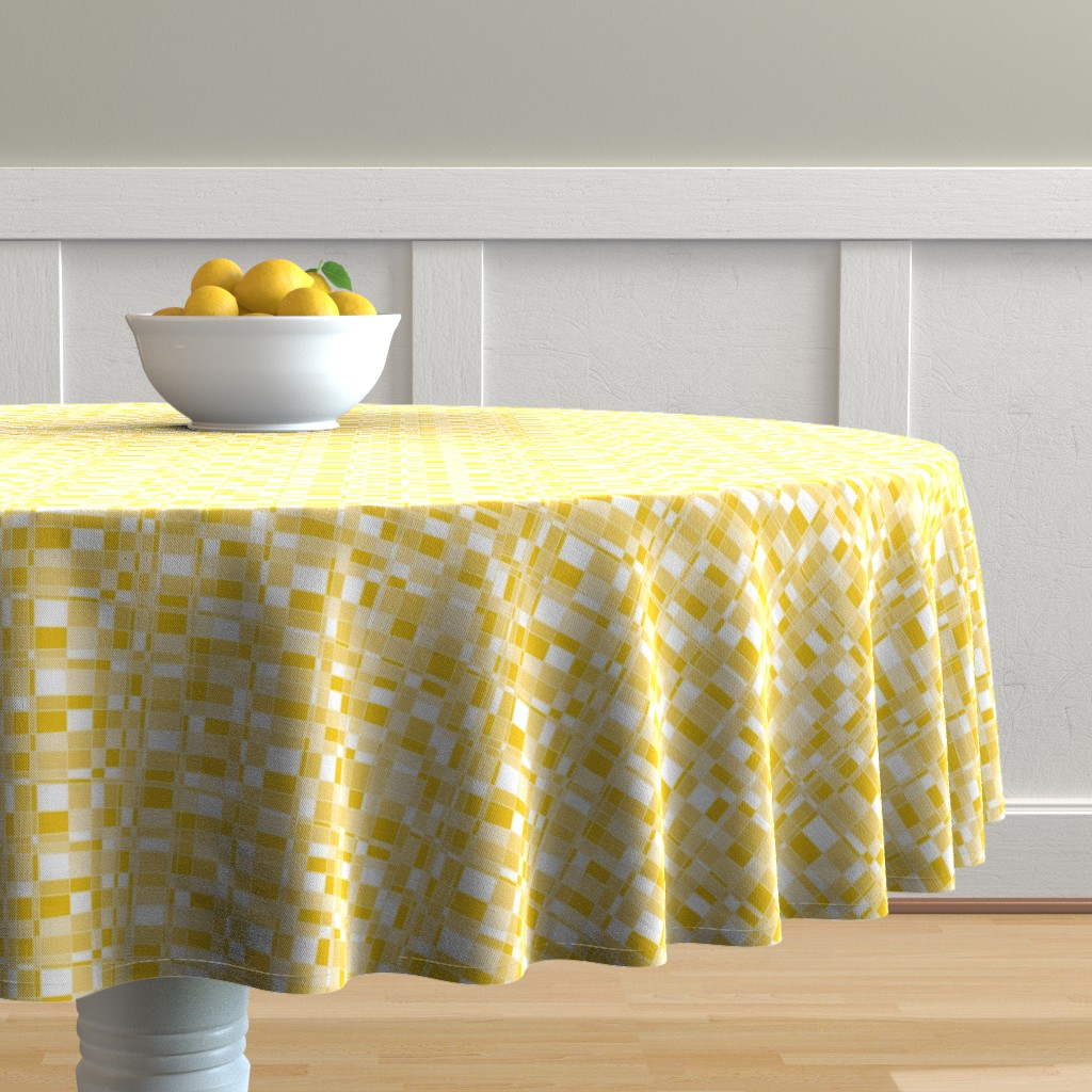 Malay Round Tablecloth featuring Mod Gingham - Yellow by autumn_musick