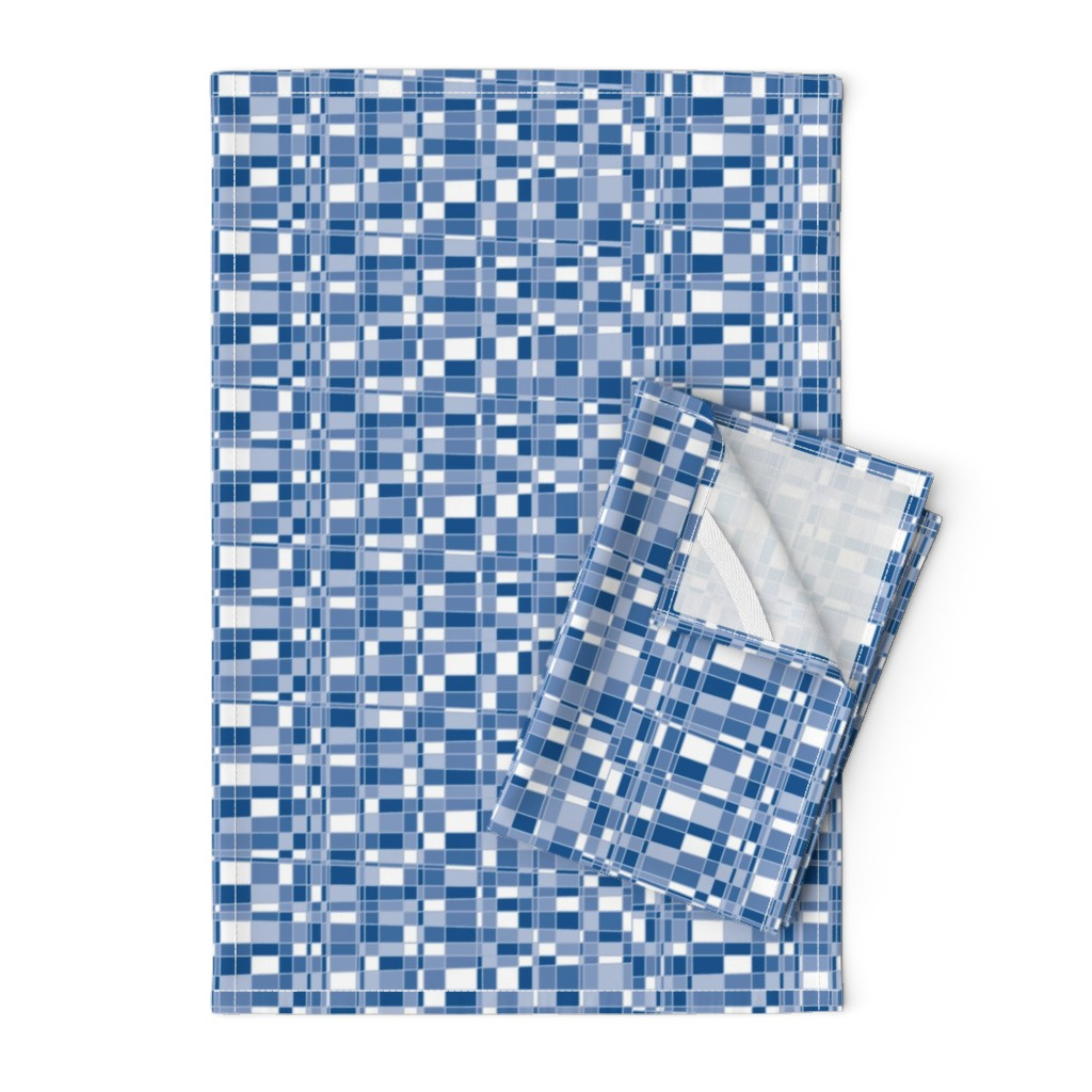 Orpington Tea Towels featuring Mod Gingham - Blue by autumn_musick