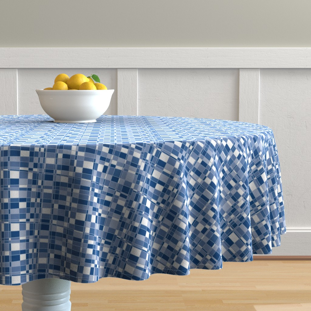 Malay Round Tablecloth featuring Mod Gingham - Blue by autumn_musick