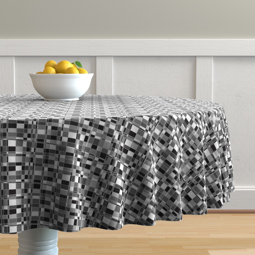 Malay Round Tablecloth featuring Mod Gingham - Black by autumn_musick