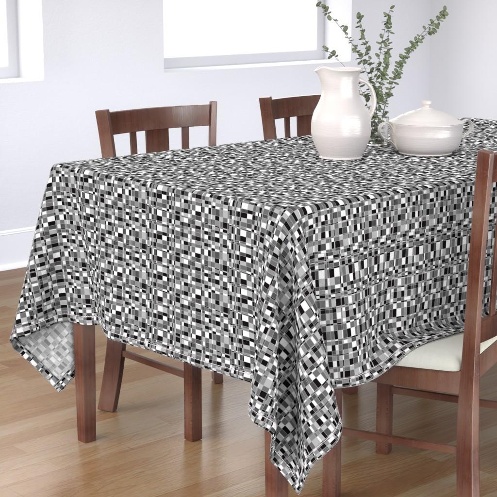 Bantam Rectangular Tablecloth featuring Mod Gingham - Black by autumn_musick