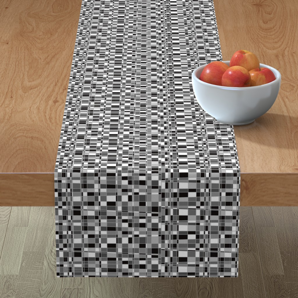 Minorca Table Runner featuring Mod Gingham - Black by autumn_musick