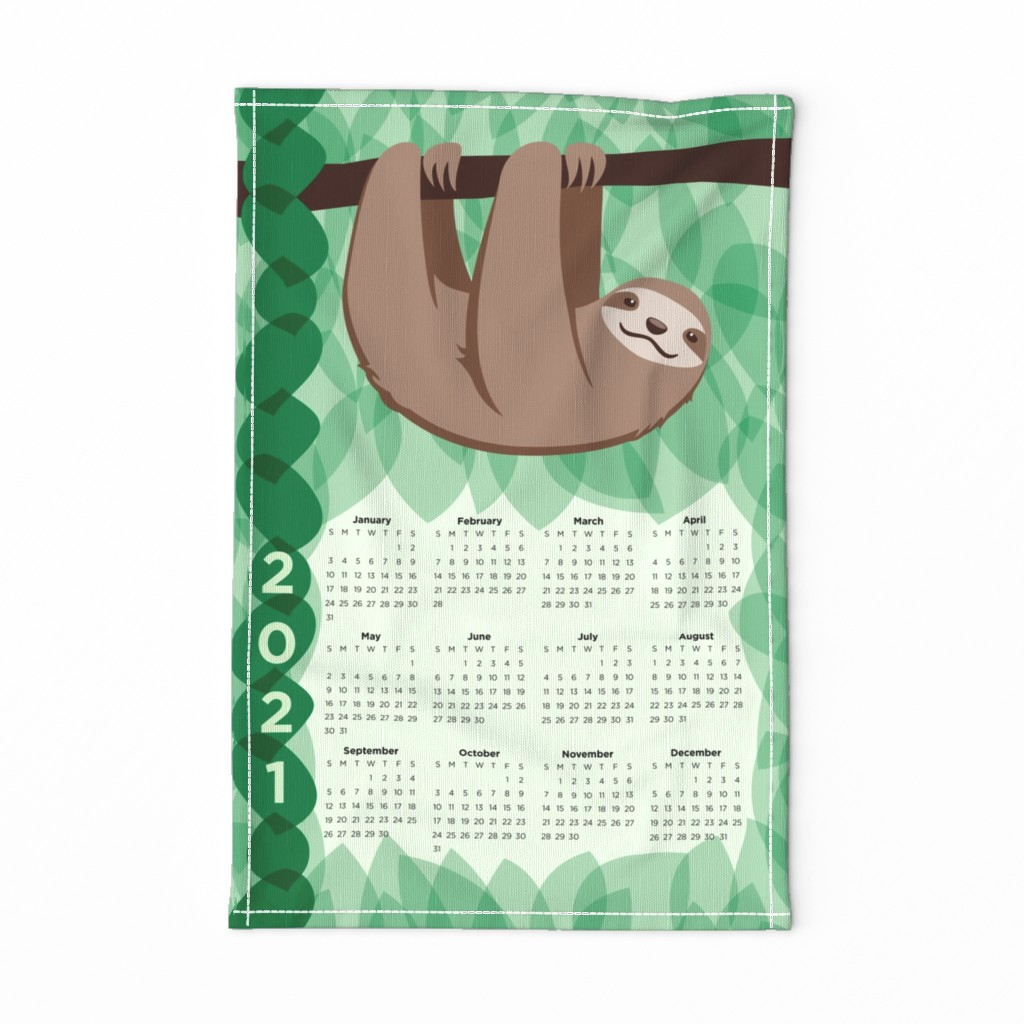 Special Edition Spoonflower Tea Towel featuring Sloth 2020 Calendar - FQ Tea Towel - Jungle - © Autumn Musick 2019 by autumn_musick