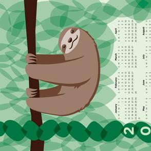 Sloth 2021 Calendar - FQ Tea Towel - Jungle - © Autumn Musick 2020