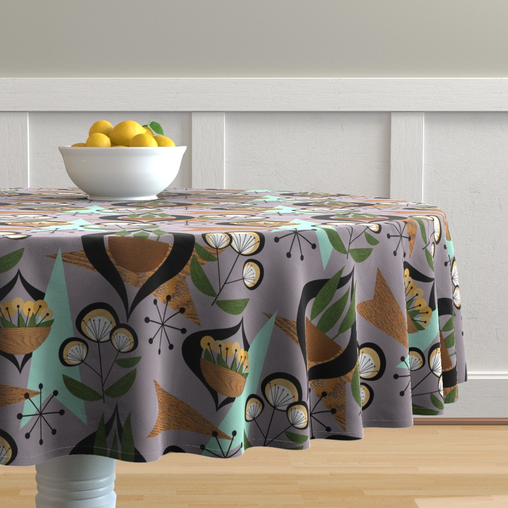 Malay Round Tablecloth featuring Mid Century Plants - mcm7a by cherie