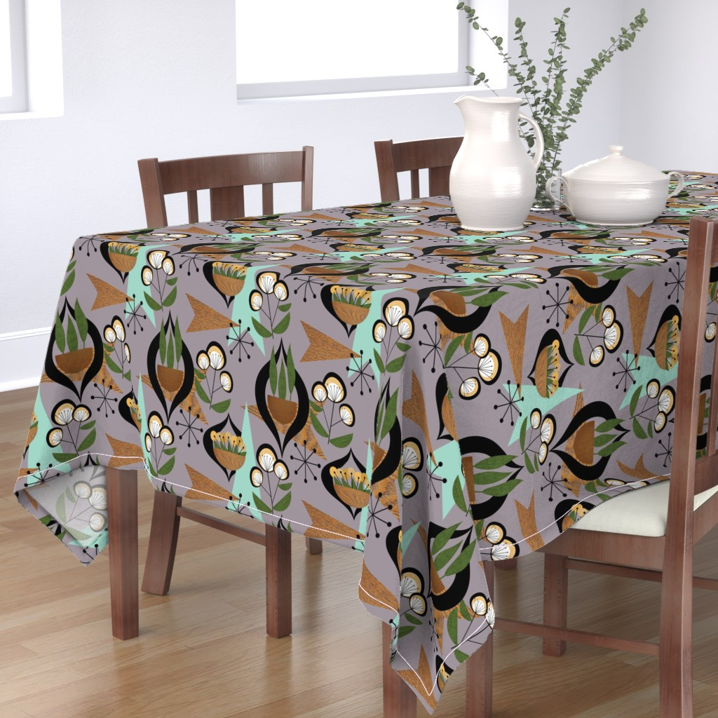 Bantam Rectangular Tablecloth featuring Mid Century Plants - mcm7a by cherie