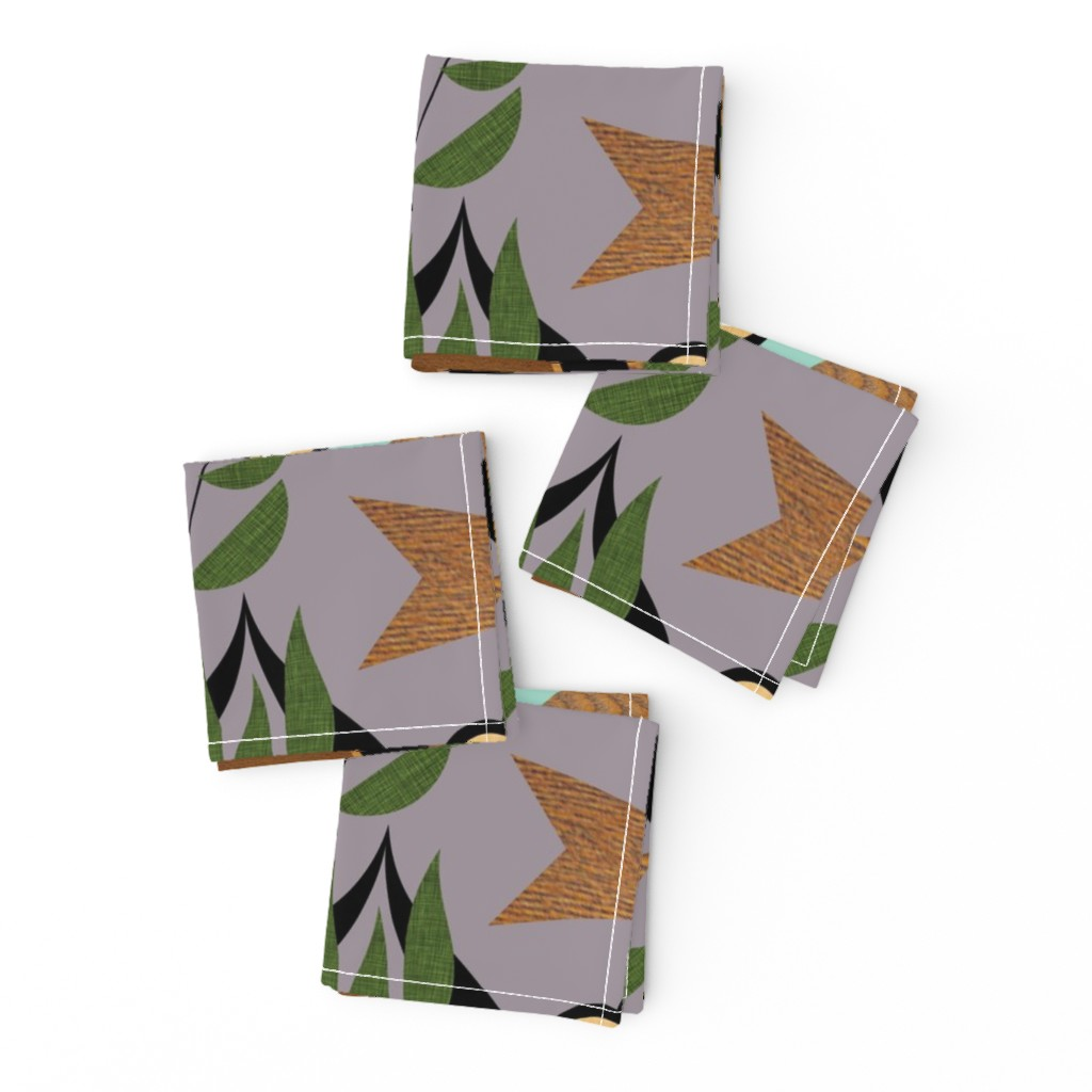 Frizzle Cocktail Napkins featuring Mid Century Plants - mcm7a by cherie