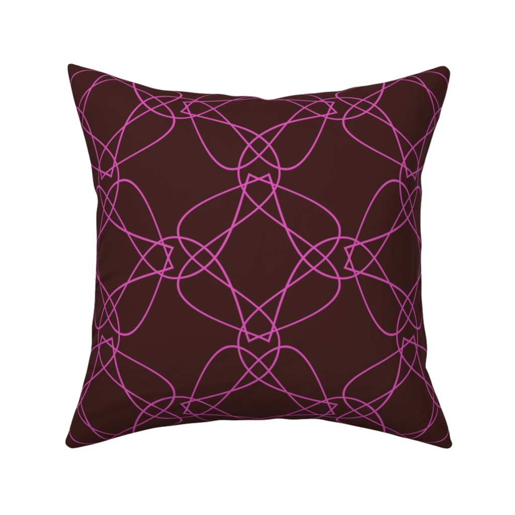 Catalan Throw Pillow featuring Tangly Lines - Q - Pink Brown by zuzana_licko