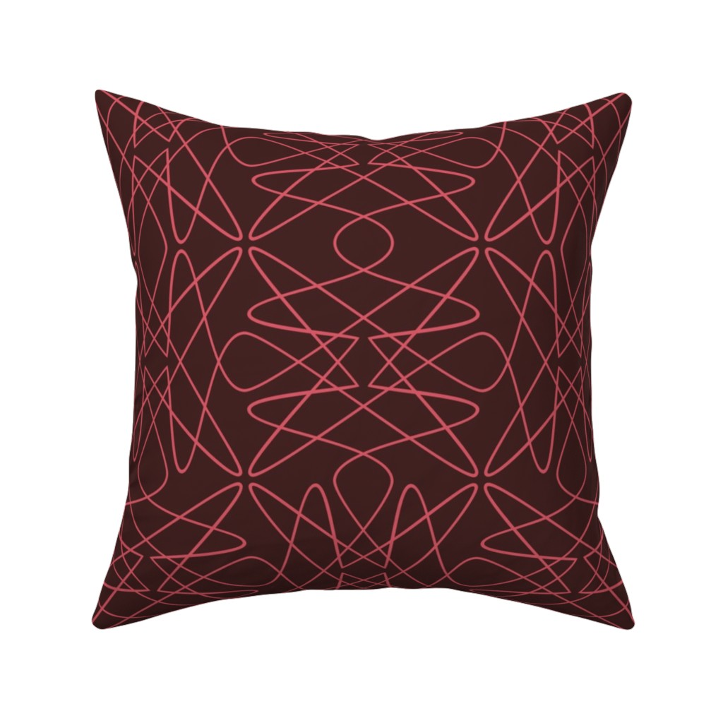 Catalan Throw Pillow featuring Tangly Lines - S - PinkBrown by zuzana_licko