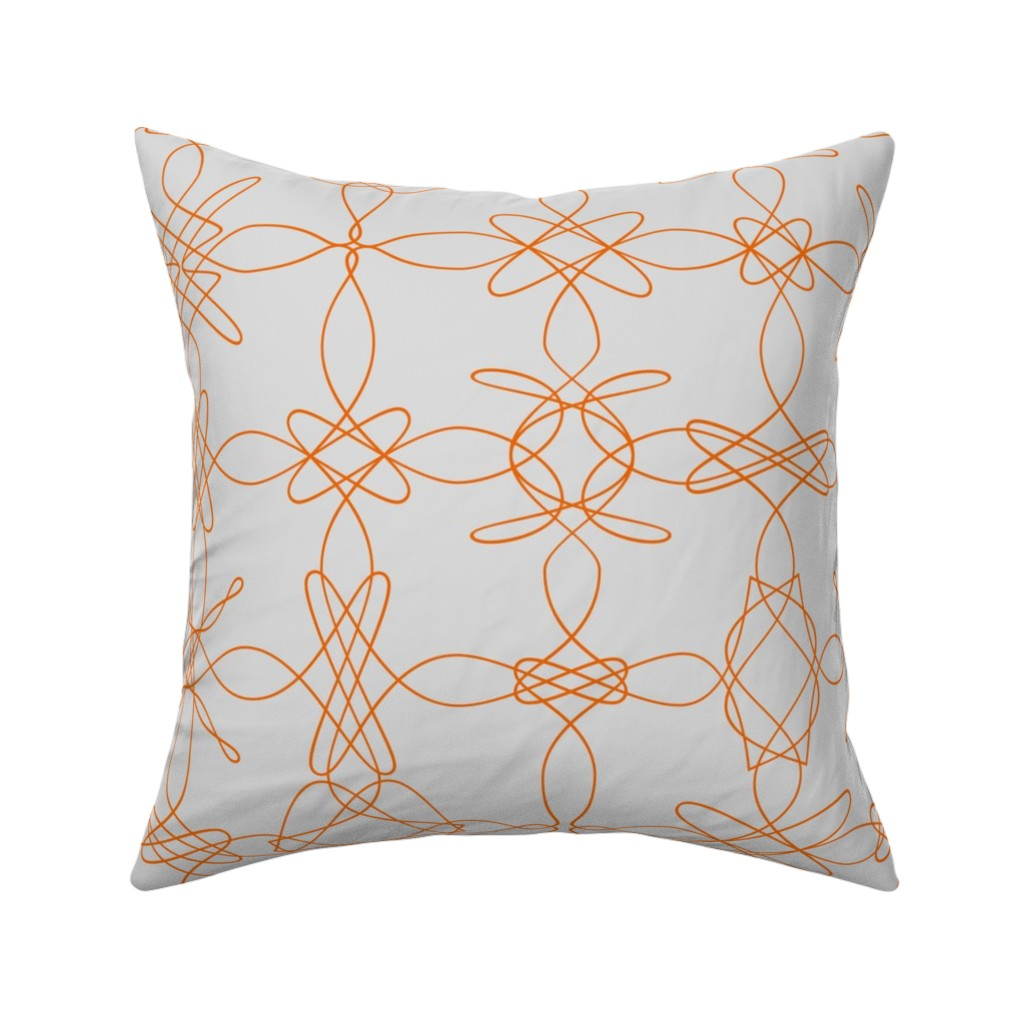 Catalan Throw Pillow featuring Tangly Lace - Orange Grey by zuzana_licko