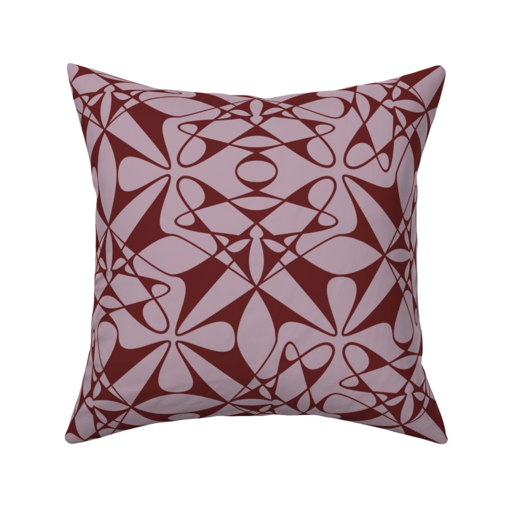 Catalan Throw Pillow featuring Tangly Splines - IJ - Mauve by zuzana_licko