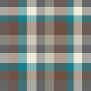 Modern Plaid - Brown Gray Blue