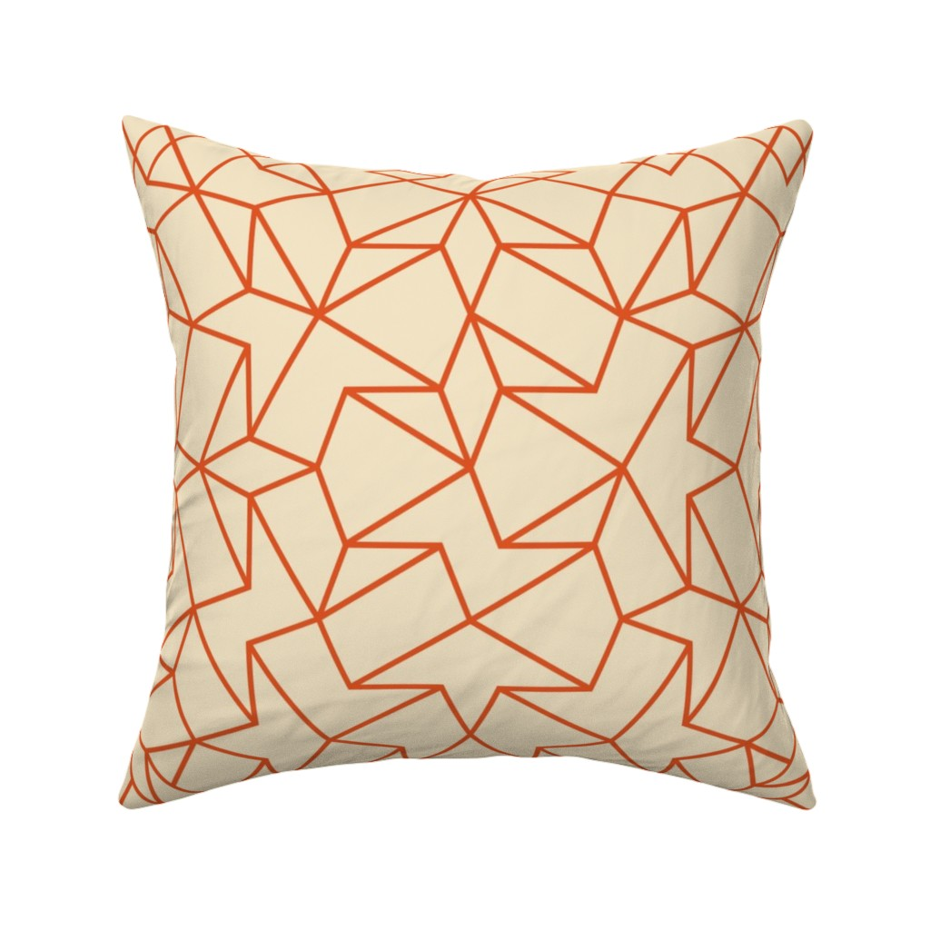 Catalan Throw Pillow featuring Angled Weave - Cream Orange by zuzana_licko