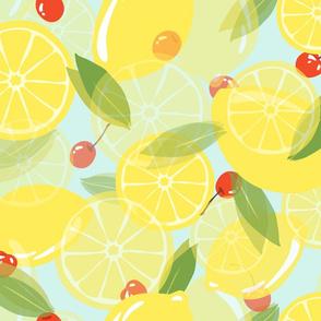 Lemons and Cherries - Aqua