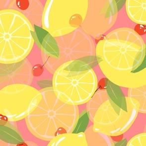 Lemons and Cherries-Pink