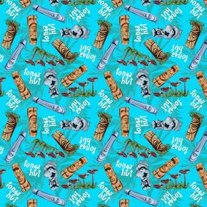 tonga hut pattern blue BG