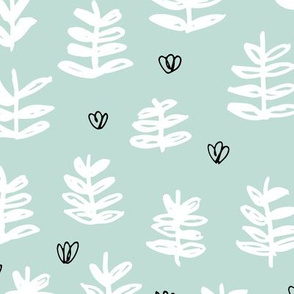 Pop culture series green home garden plants leaves illustration print design mint LARGE
