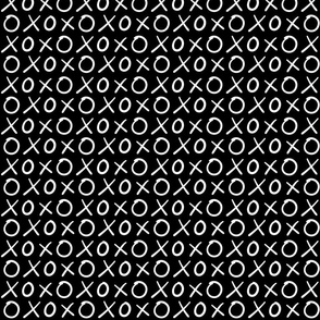 xoxo hugs and kisses inverted :: marker doodles black and white monochrome typography
