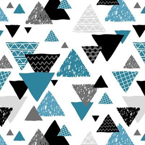 Geometric triangle aztec illustration hand drawn pattern indigo soft blue