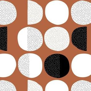 Abstract moon cycle phase Scandinavian minimal retro circle design copper brown autumn